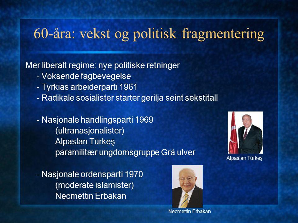 60-åra: vekst og politisk fragmentering Mer liberalt regime: nye politiske retninger - Voksende fagbevegelse - Tyrkias arbeiderparti 1961 - Radikale s
