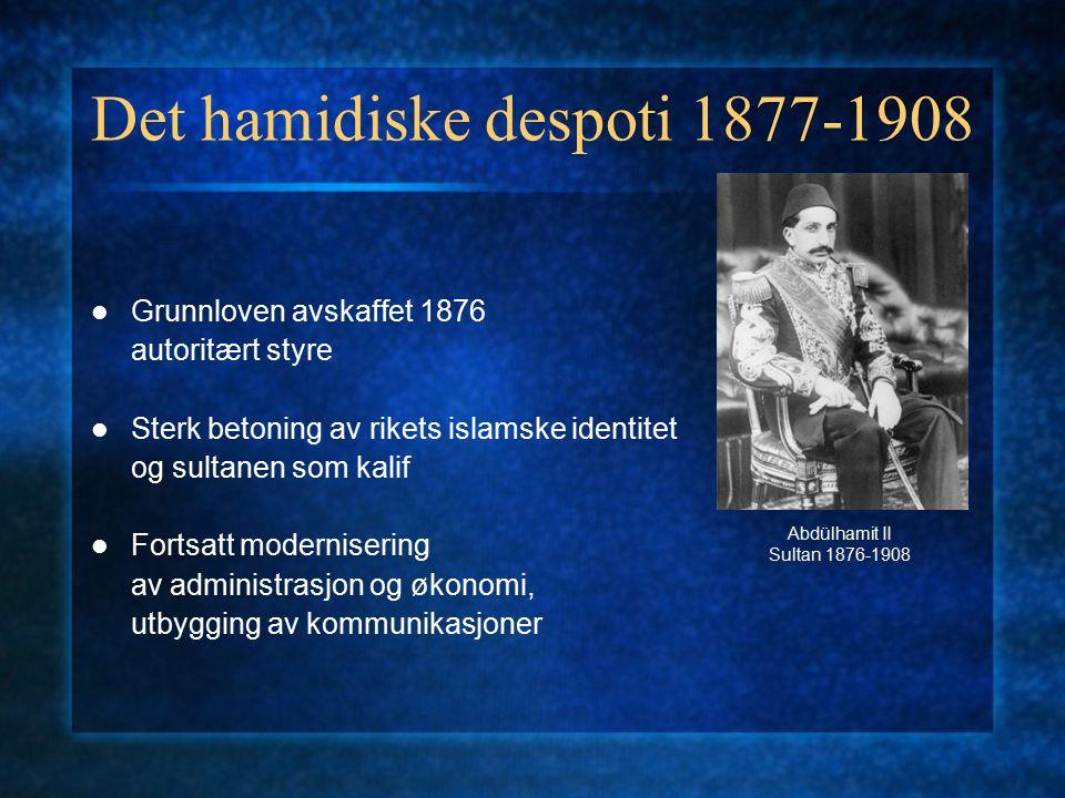 1908: ungtyrkernes revolusjon Komiteen for enhet og framskritt (CUP) (İttihat ve Terakki Cemiyeti) Konstitusjonen gjeninnført Osmansk parlament valgt Balkankrigene 1911-12 størsteparten av de gjenværende europeiske territoriene går tapt