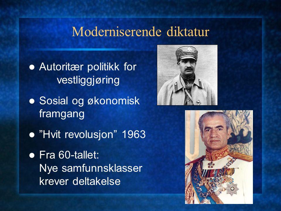 Moderniserende diktatur Autoritær politikk for vestliggjøring Sosial og økonomisk framgang Hvit revolusjon 1963 Fra 60-tallet: Nye samfunnsklasser krever deltakelse
