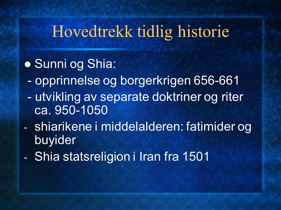 Hovedtrekk tidlig historie Sunni og Shia: - opprinnelse og borgerkrigen 656-661 - utvikling av separate doktriner og riter ca. 950-1050 - shiarikene i