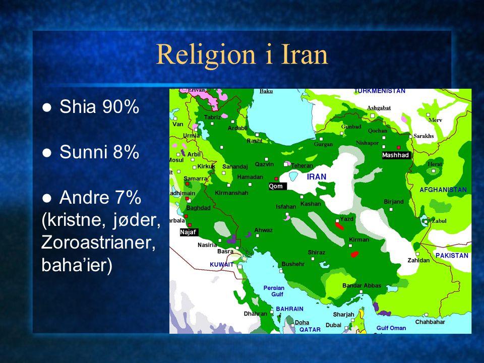 Religion i Iran Shia 90% Sunni 8% Andre 7% (kristne, jøder, Zoroastrianer, baha'ier)