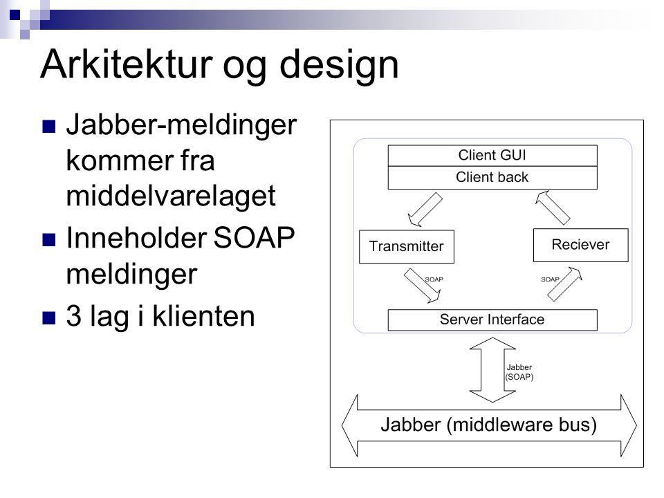 Arkitektur og design Jabber-meldinger kommer fra middelvarelaget Inneholder SOAP meldinger 3 lag i klienten