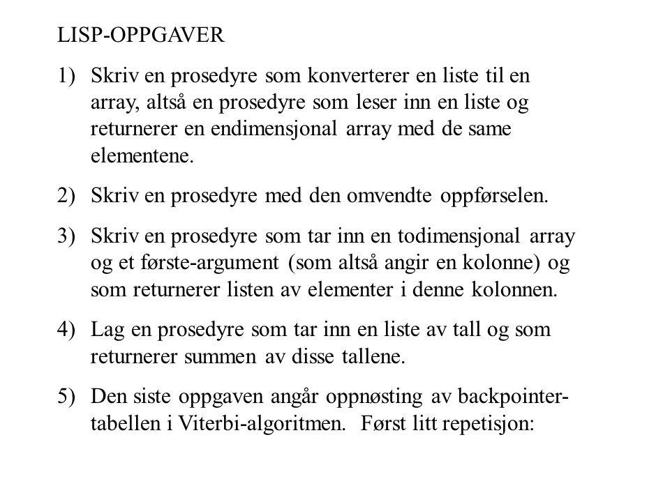 LISP-OPPGAVER 1)Skriv en prosedyre som konverterer en liste til en array, altså en prosedyre som leser inn en liste og returnerer en endimensjonal array med de same elementene.