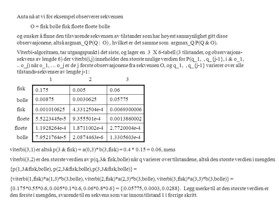 Anta nå at vi for eksempel observerer sekvensen O = fisk bolle fisk floete floete bolle og ønsker å finne den tilsvarende sekvensen av tilstander som har høyest sannsynlighet gitt disse observasjonene, altså argmax_Q P(Q | O), hvilket er det samme som argmax_Q P(Q & O).
