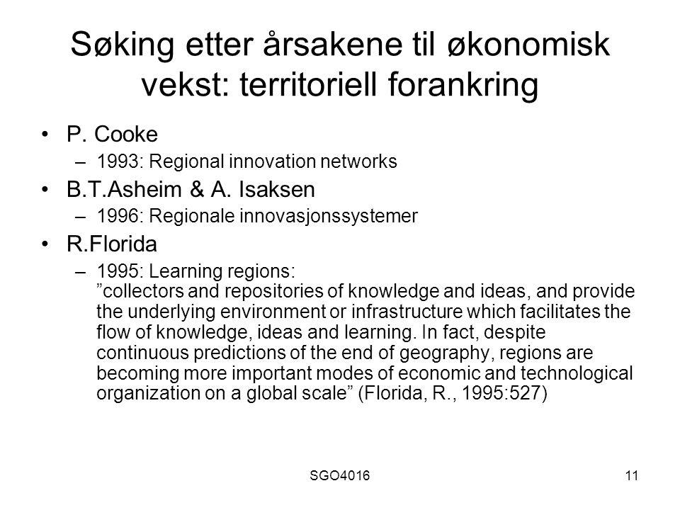 SGO401611 Søking etter årsakene til økonomisk vekst: territoriell forankring P.