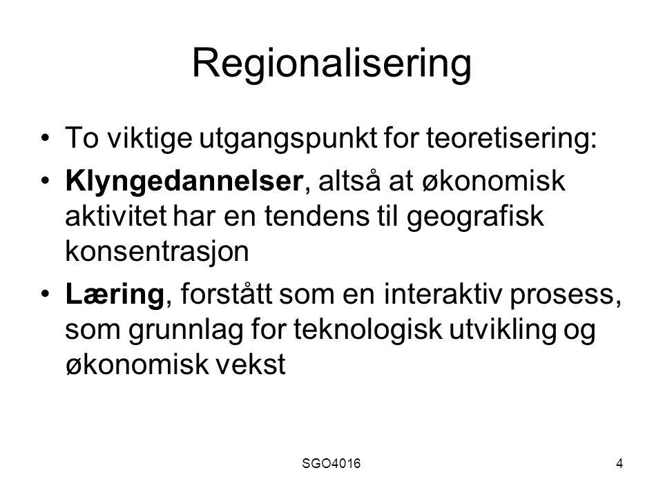 SGO40164 Regionalisering To viktige utgangspunkt for teoretisering: Klyngedannelser, altså at økonomisk aktivitet har en tendens til geografisk konsentrasjon Læring, forstått som en interaktiv prosess, som grunnlag for teknologisk utvikling og økonomisk vekst