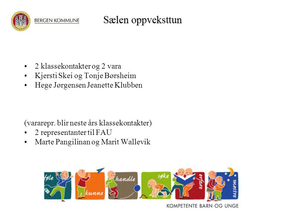 2 klassekontakter og 2 vara Kjersti Skei og Tonje Børsheim Hege Jørgensen Jeanette Klubben (vararepr. blir neste års klassekontakter) 2 representanter