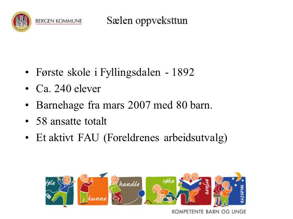 Første skole i Fyllingsdalen - 1892 Ca. 240 elever Barnehage fra mars 2007 med 80 barn. 58 ansatte totalt Et aktivt FAU (Foreldrenes arbeidsutvalg)