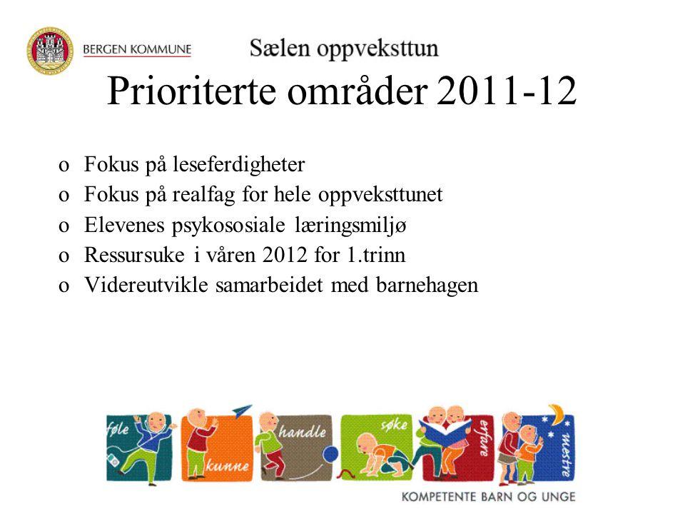 Prioriterte områder 2011-12 oFokus på leseferdigheter oFokus på realfag for hele oppveksttunet oElevenes psykososiale læringsmiljø oRessursuke i våren 2012 for 1.trinn oVidereutvikle samarbeidet med barnehagen