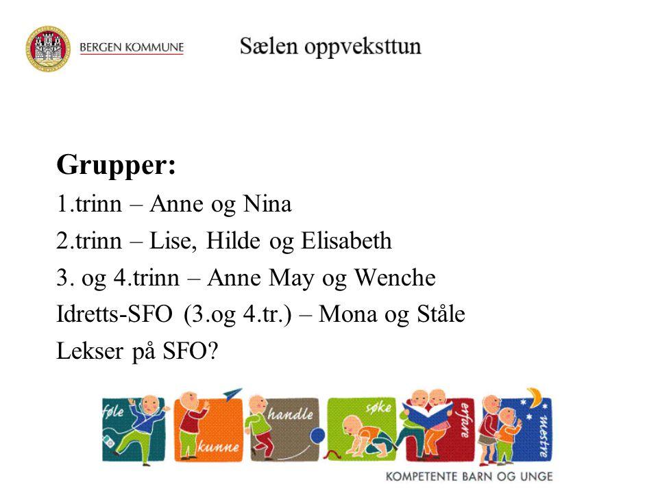 Grupper: 1.trinn – Anne og Nina 2.trinn – Lise, Hilde og Elisabeth 3. og 4.trinn – Anne May og Wenche Idretts-SFO (3.og 4.tr.) – Mona og Ståle Lekser