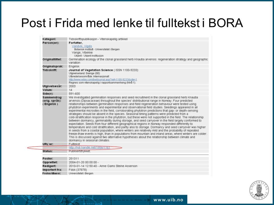 Post i Frida med lenke til fulltekst i BORA