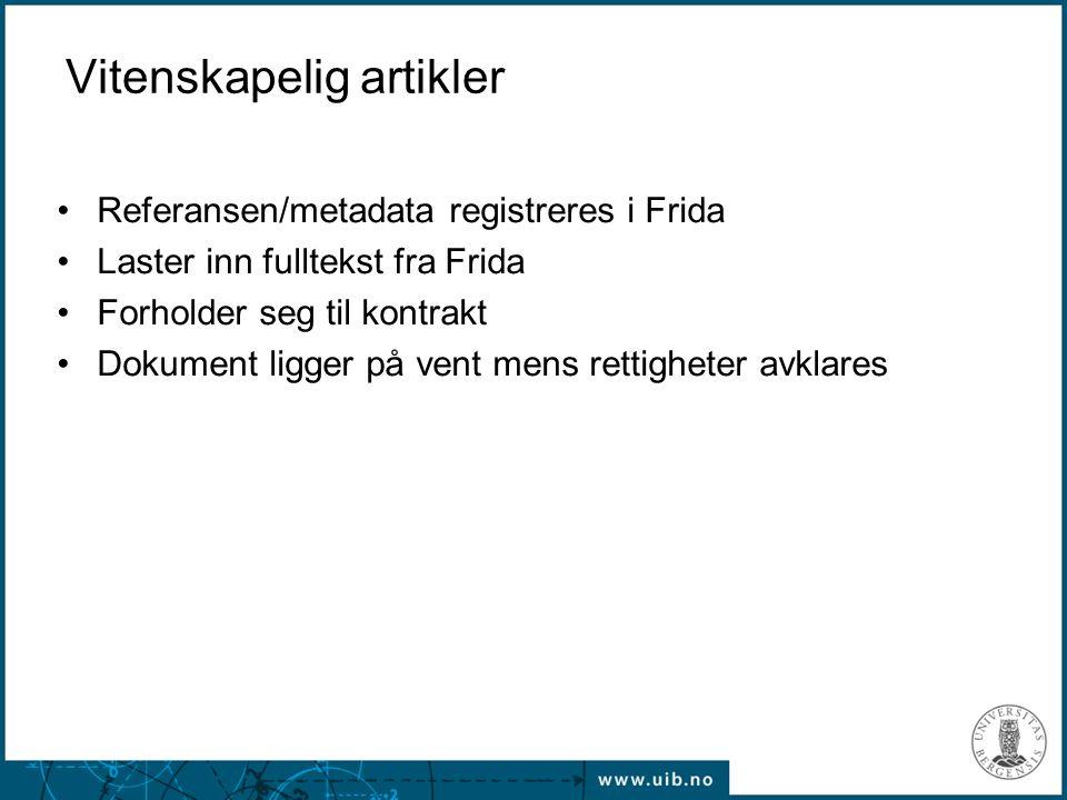 Referansen/metadata registreres i Frida Laster inn fulltekst fra Frida Forholder seg til kontrakt Dokument ligger på vent mens rettigheter avklares Vitenskapelig artikler