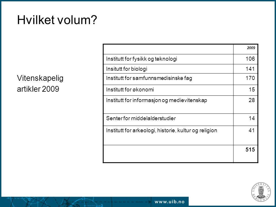 Hvilket volum? Vitenskapelig artikler 2009 2009 Institutt for fysikk og teknologi106 Insitutt for biologi141 Institutt for samfunnsmedisinske fag170 I