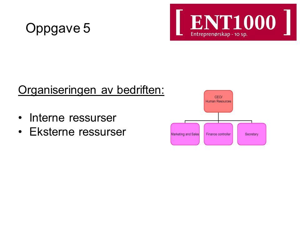 Oppgave 5 Organiseringen av bedriften: Interne ressurser Eksterne ressurser