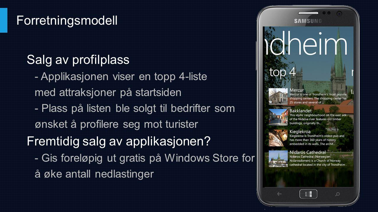 Salg av profilplass - Applikasjonen viser en topp 4-liste med attraksjoner på startsiden - Plass på listen ble solgt til bedrifter som ønsket å profil