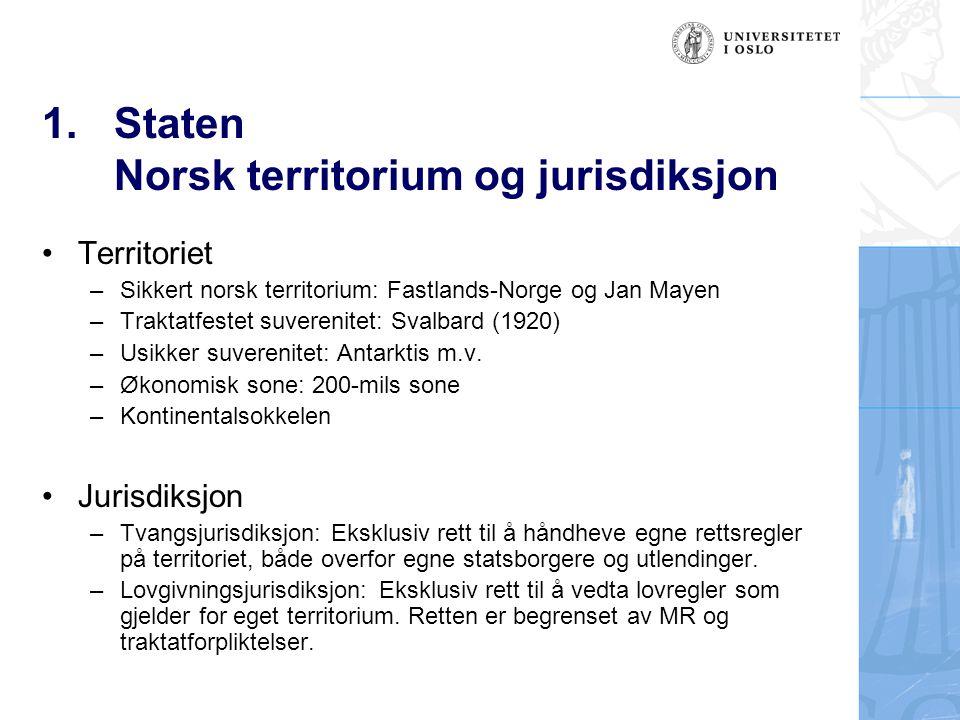 1.Staten Norsk territorium og jurisdiksjon Territoriet –Sikkert norsk territorium: Fastlands-Norge og Jan Mayen –Traktatfestet suverenitet: Svalbard (