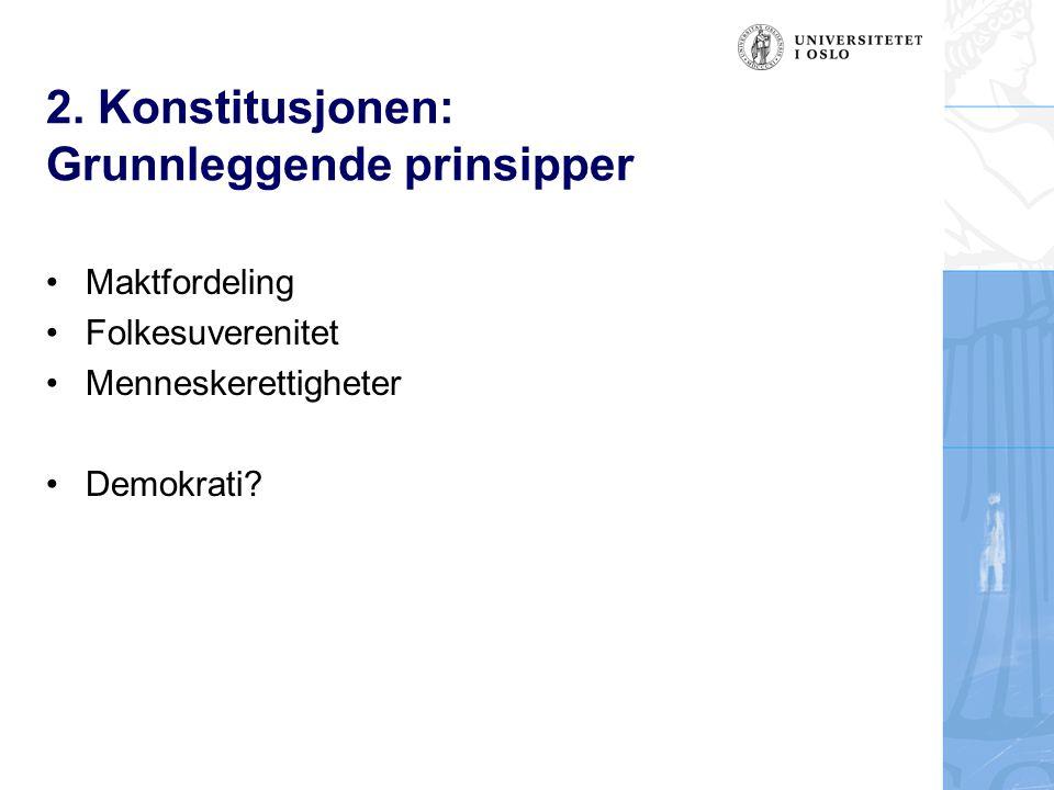 2. Konstitusjonen: Grunnleggende prinsipper Maktfordeling Folkesuverenitet Menneskerettigheter Demokrati?