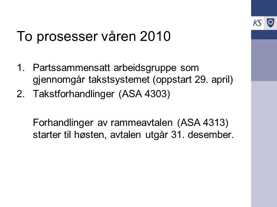 To prosesser våren 2010 1.Partssammensatt arbeidsgruppe som gjennomgår takstsystemet (oppstart 29.