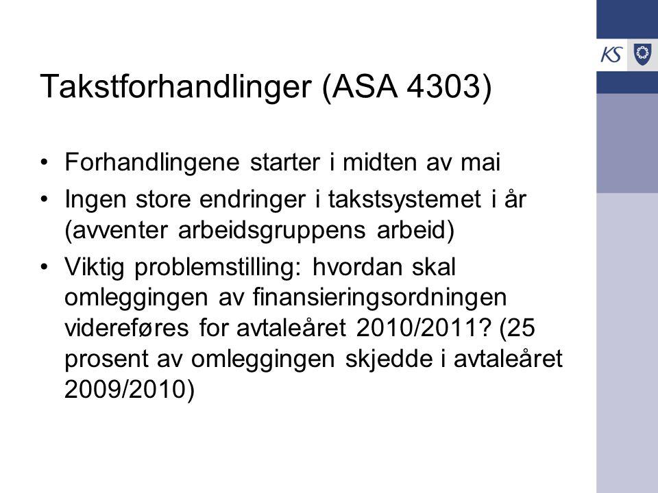 Takstforhandlinger (ASA 4303) Forhandlingene starter i midten av mai Ingen store endringer i takstsystemet i år (avventer arbeidsgruppens arbeid) Viktig problemstilling: hvordan skal omleggingen av finansieringsordningen videreføres for avtaleåret 2010/2011.