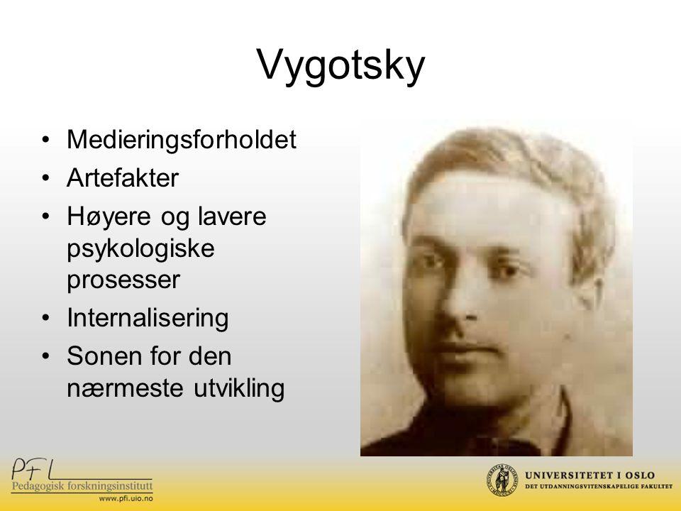 Vygotsky Medieringsforholdet Artefakter Høyere og lavere psykologiske prosesser Internalisering Sonen for den nærmeste utvikling