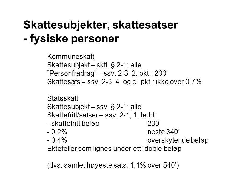 Skattesubjekter, skattesatser - fysiske personer Kommuneskatt Skattesubjekt – sktl.