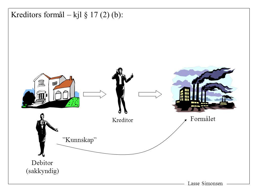 """Lasse Simonsen Kreditors formål – kjl § 17 (2) (b): Formålet Kreditor Debitor (sakkyndig) """"Kunnskap"""""""