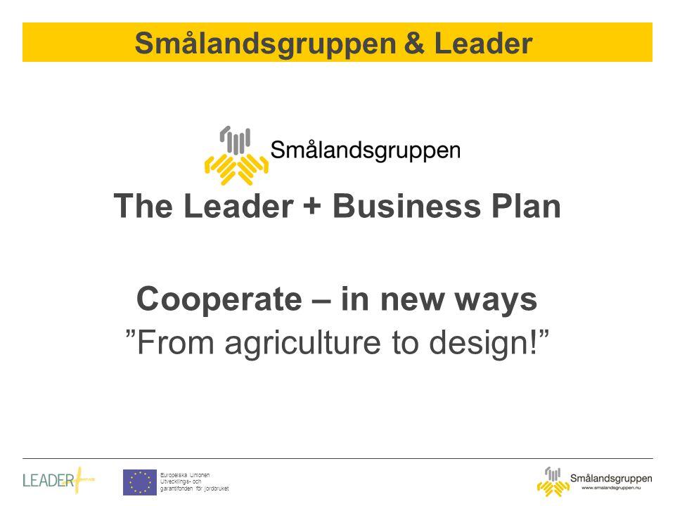 Smålandsgruppen & Leader Europeiska Unionen Utvecklings- och garantifonden för jordbruket The Leader + Business Plan Cooperate – in new ways From agriculture to design!