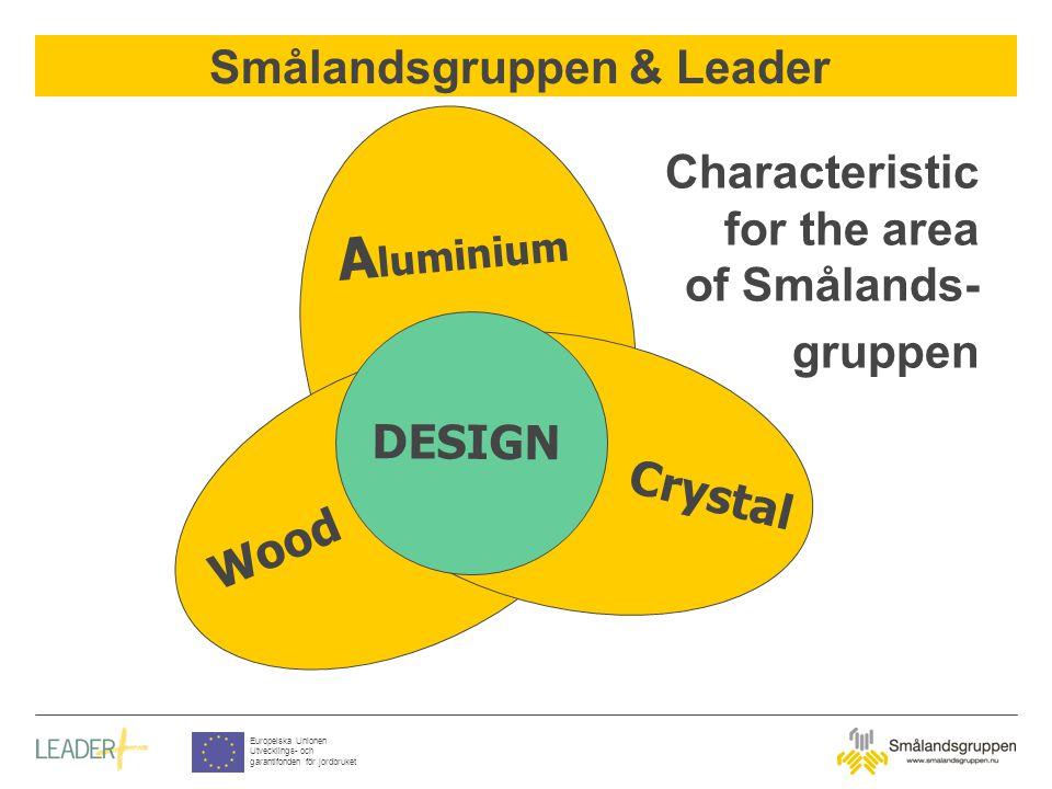 Smålandsgruppen & Leader Europeiska Unionen Utvecklings- och garantifonden för jordbruket Characteristic for the area of Smålands- gruppen Wood A luminium Crystal DESIGN
