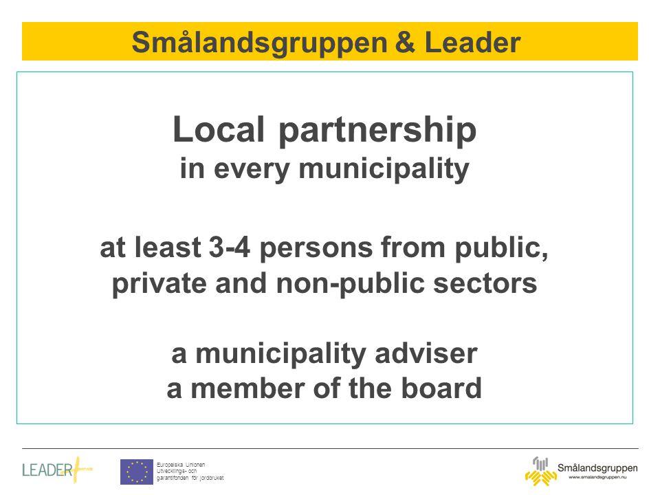 Smålandsgruppen & Leader Europeiska Unionen Utvecklings- och garantifonden för jordbruket Local partnership in every municipality at least 3-4 persons