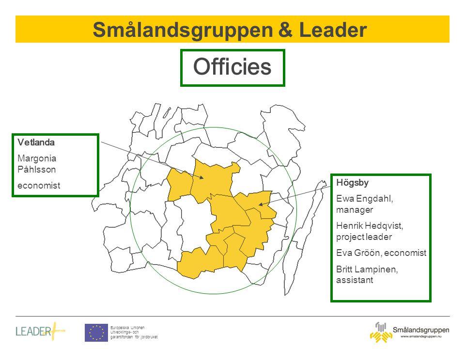 Smålandsgruppen & Leader Europeiska Unionen Utvecklings- och garantifonden för jordbruket Officies Vetlanda Margonia Påhlsson economist Högsby Ewa Eng