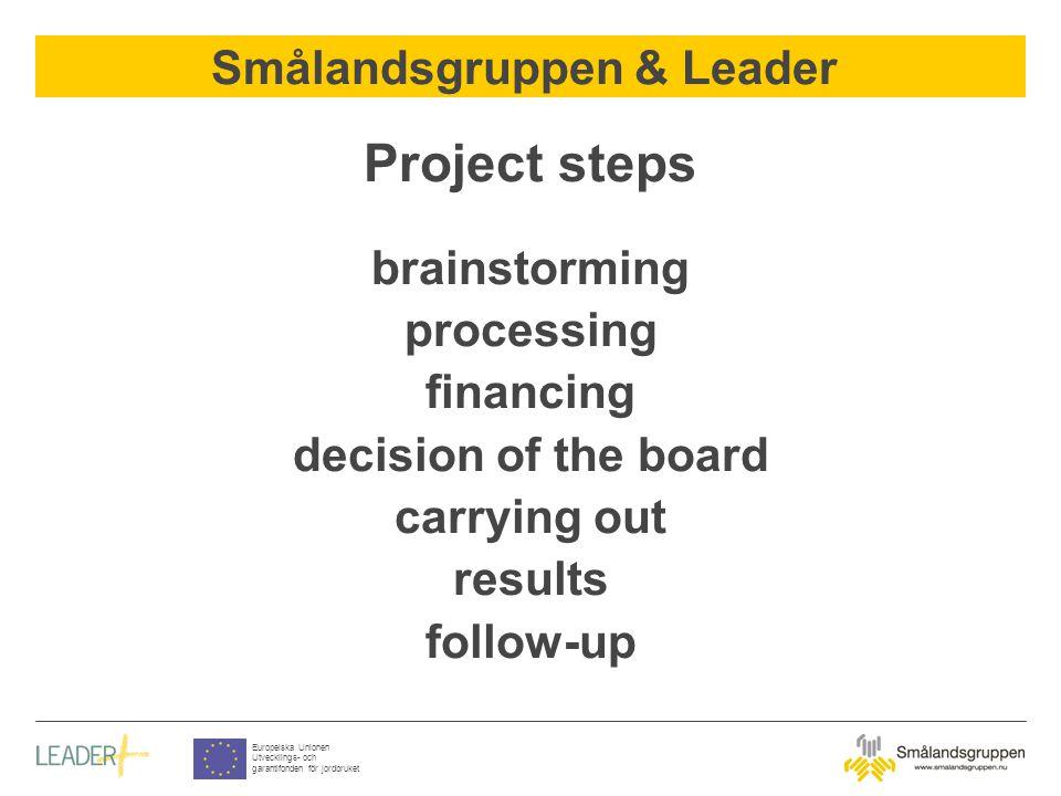Smålandsgruppen & Leader Europeiska Unionen Utvecklings- och garantifonden för jordbruket Project steps brainstorming processing financing decision of the board carrying out results follow-up