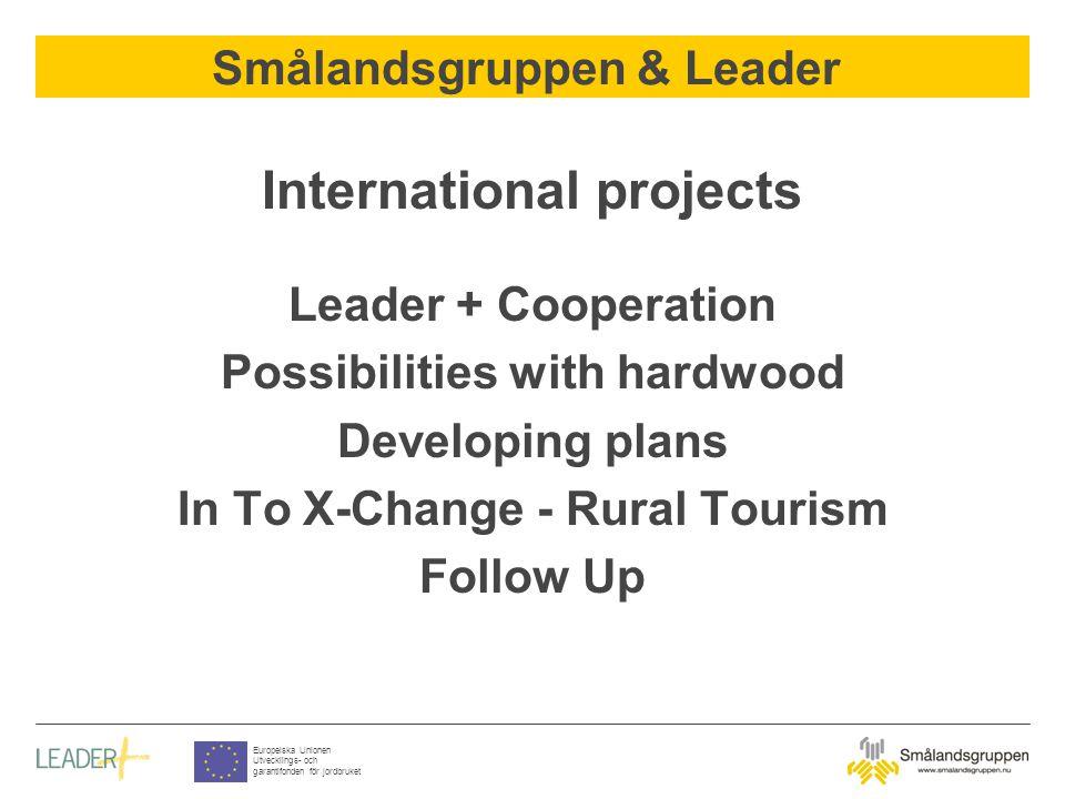 Smålandsgruppen & Leader Europeiska Unionen Utvecklings- och garantifonden för jordbruket International projects Leader + Cooperation Possibilities with hardwood Developing plans In To X-Change - Rural Tourism Follow Up