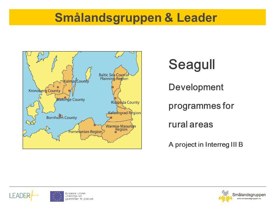 Smålandsgruppen & Leader Europeiska Unionen Utvecklings- och garantifonden för jordbruket Seagull Development programmes for rural areas A project in