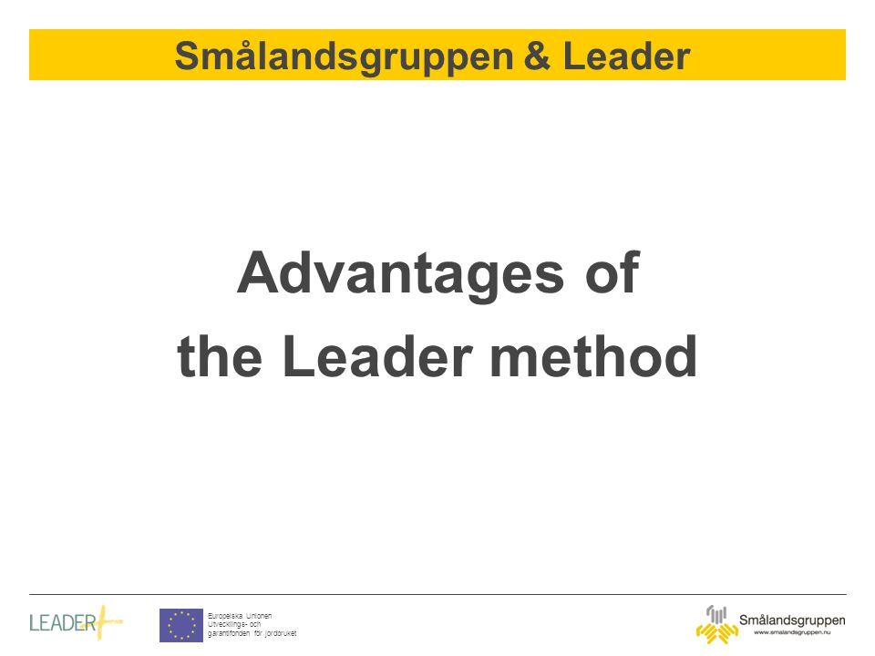 Smålandsgruppen & Leader Europeiska Unionen Utvecklings- och garantifonden för jordbruket Advantages of the Leader method