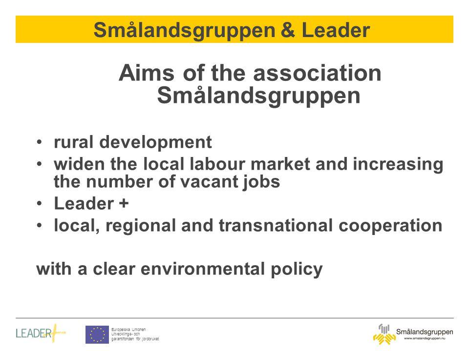 Smålandsgruppen & Leader Europeiska Unionen Utvecklings- och garantifonden för jordbruket Aims of the association Smålandsgruppen rural development wi