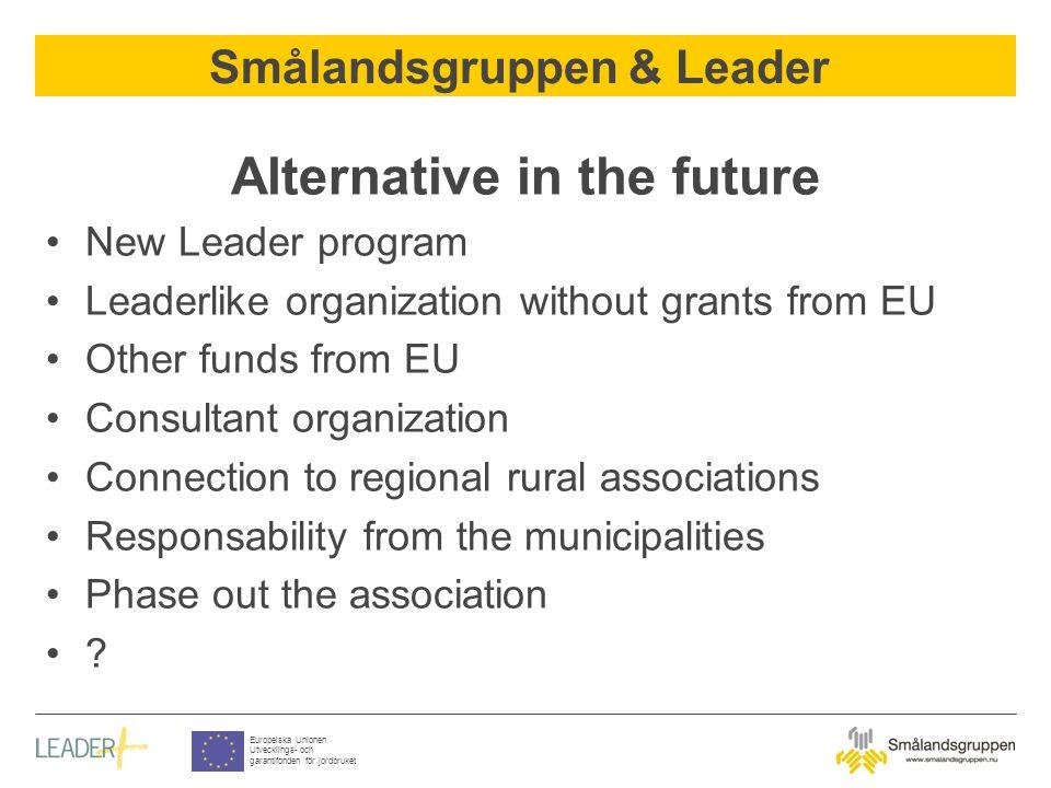 Smålandsgruppen & Leader Europeiska Unionen Utvecklings- och garantifonden för jordbruket Alternative in the future New Leader program Leaderlike orga