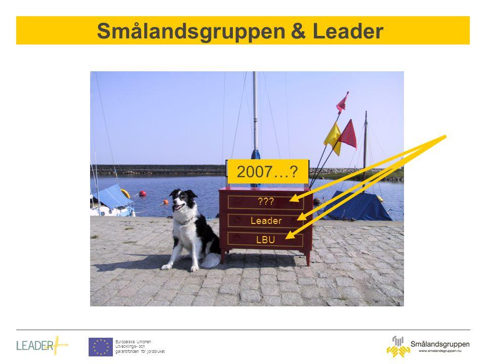 Smålandsgruppen & Leader Europeiska Unionen Utvecklings- och garantifonden för jordbruket 2007…? ??? Leader LBU