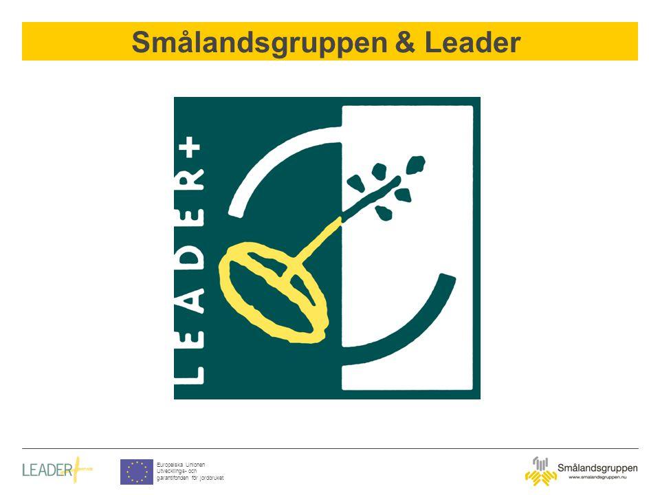 Smålandsgruppen & Leader Europeiska Unionen Utvecklings- och garantifonden för jordbruket Sweden has 12 LAGs Smålandsgruppen