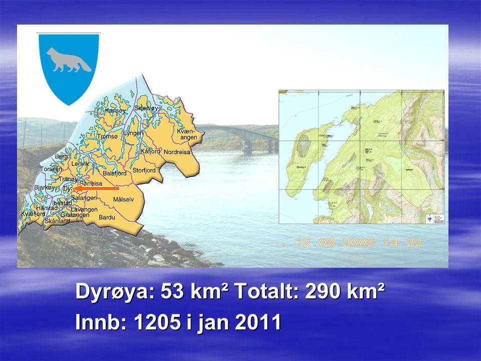 Dyrøya: 53 km² Totalt: 290 km² Innb: 1205 i jan 2011