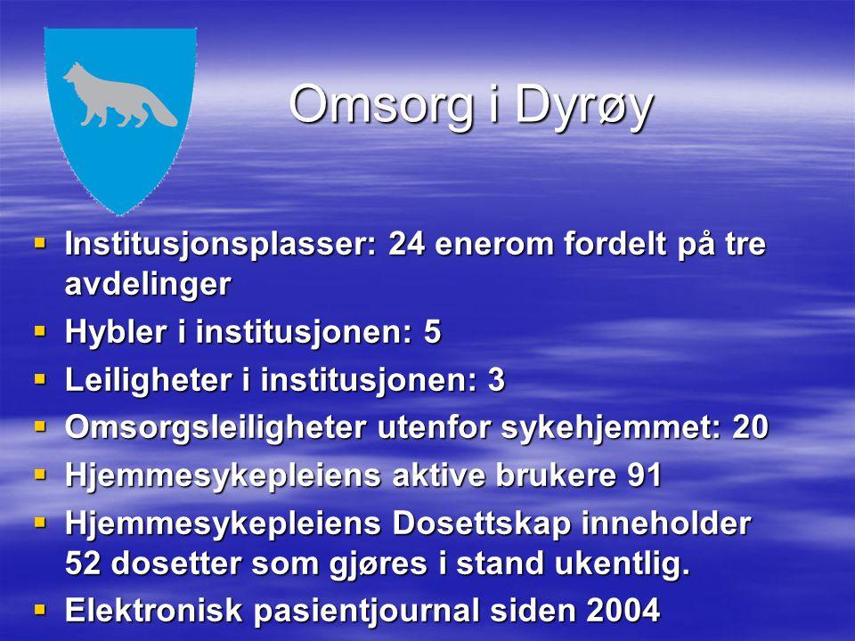 Omsorg i Dyrøy  Institusjonsplasser: 24 enerom fordelt på tre avdelinger  Hybler i institusjonen: 5  Leiligheter i institusjonen: 3  Omsorgsleilig