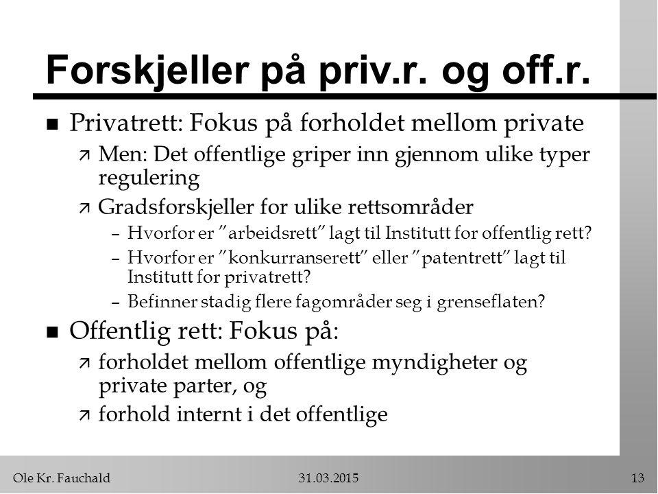 Ole Kr. Fauchald31.03.201513 Forskjeller på priv.r. og off.r. n Privatrett: Fokus på forholdet mellom private ä Men: Det offentlige griper inn gjennom