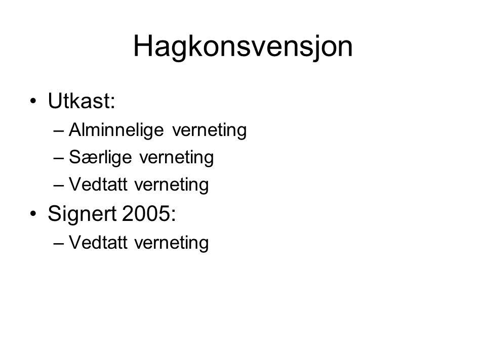 Hagkonsvensjon Utkast: –Alminnelige verneting –Særlige verneting –Vedtatt verneting Signert 2005: –Vedtatt verneting