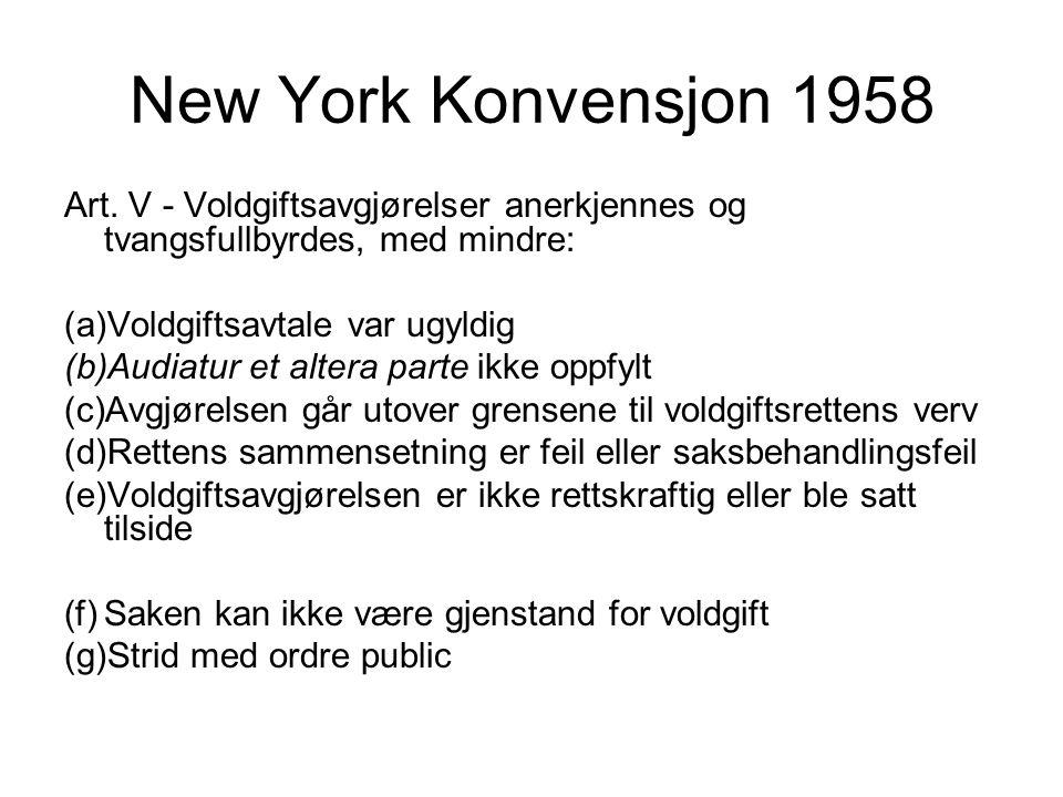New York Konvensjon 1958 Art.