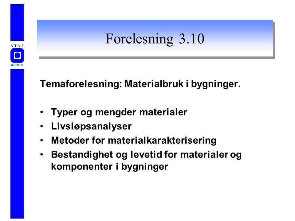 Forelesning 3.10 Temaforelesning: Materialbruk i bygninger.