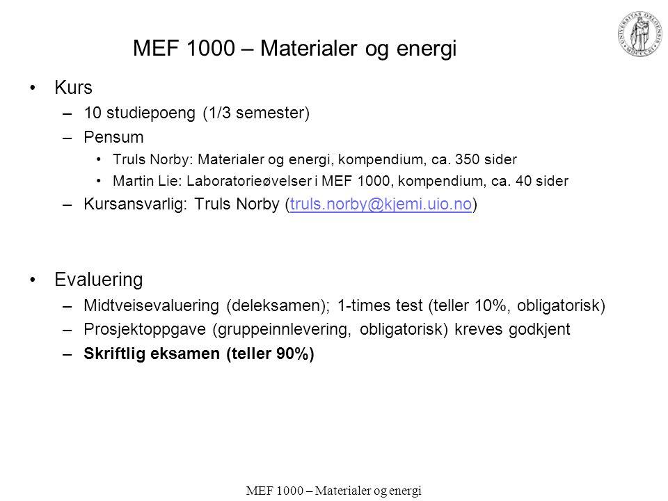 MEF 1000 – Materialer og energi Kurs –10 studiepoeng (1/3 semester) –Pensum Truls Norby: Materialer og energi, kompendium, ca.