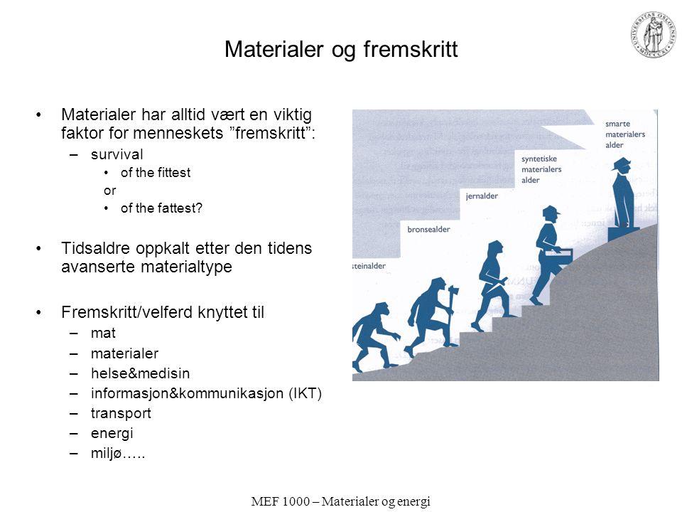 MEF 1000 – Materialer og energi Materialer og fremskritt Materialer har alltid vært en viktig faktor for menneskets fremskritt : –survival of the fittest or of the fattest.