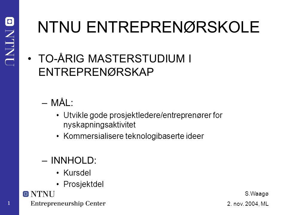 S.Waagø 2.nov. 2004, ML 2 MÅL: Bedriftsetablering eller lisensiering 1.