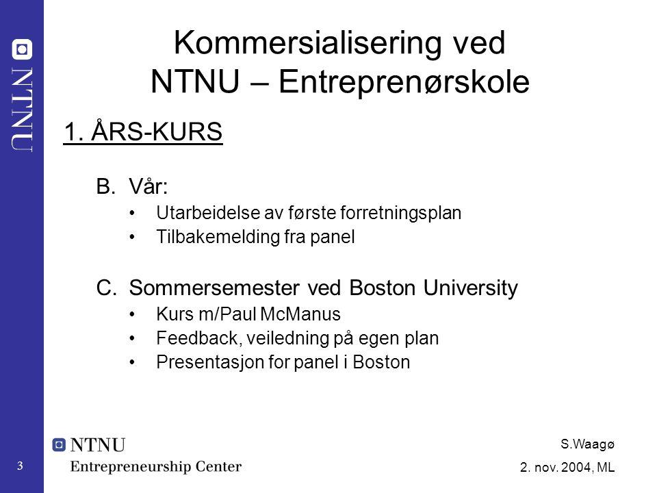 S.Waagø 2.nov. 2004, ML 4 Kommersialisering ved NTNU – Entreprenørskole 2.