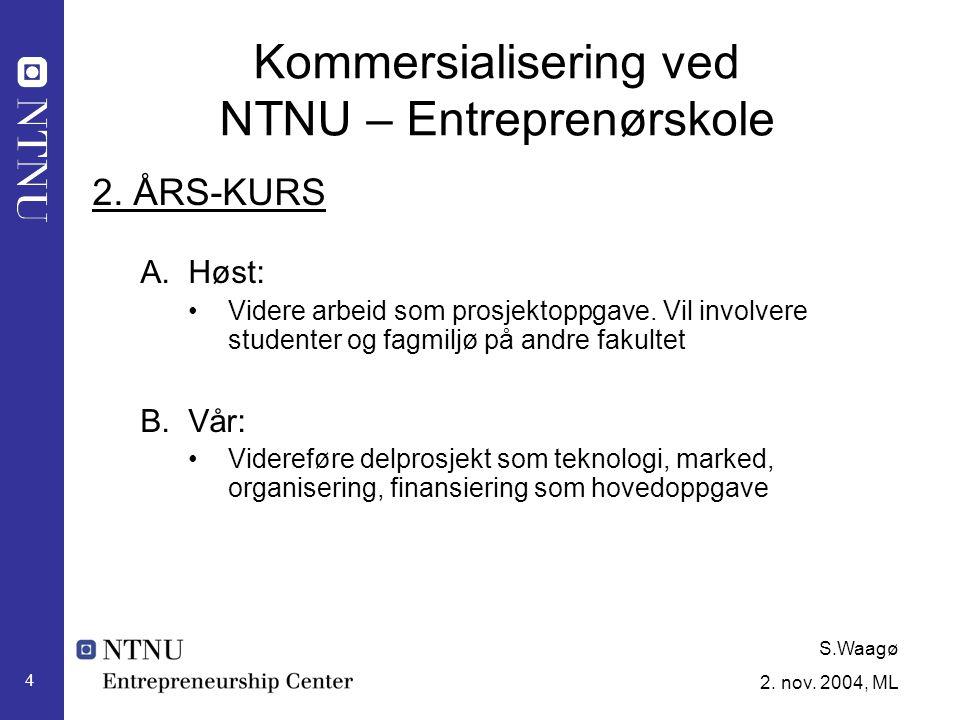 S.Waagø 2. nov. 2004, ML 4 Kommersialisering ved NTNU – Entreprenørskole 2.