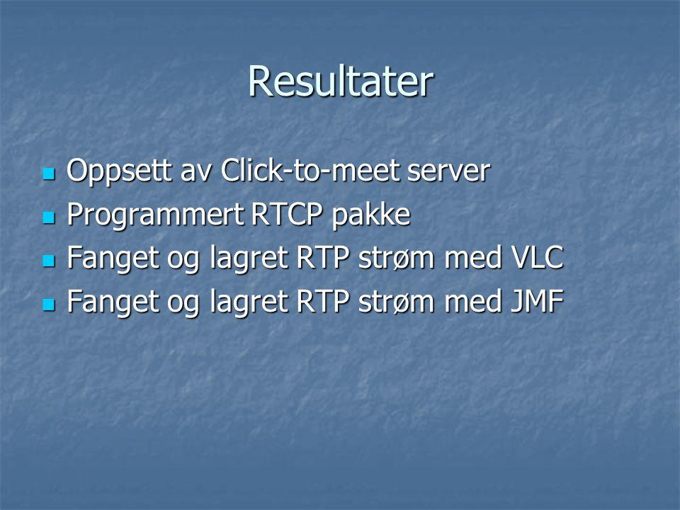 Resultater Oppsett av Click-to-meet server Oppsett av Click-to-meet server Programmert RTCP pakke Programmert RTCP pakke Fanget og lagret RTP strøm med VLC Fanget og lagret RTP strøm med VLC Fanget og lagret RTP strøm med JMF Fanget og lagret RTP strøm med JMF